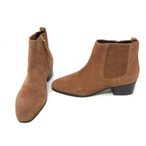 Ann Taylor Suede Leather Chelsea Ankle Booties
